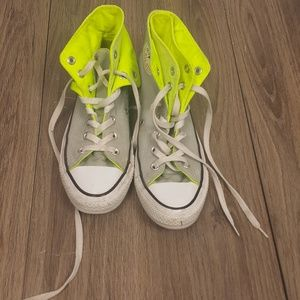Converse lime green and gray high tops sz.7 wom